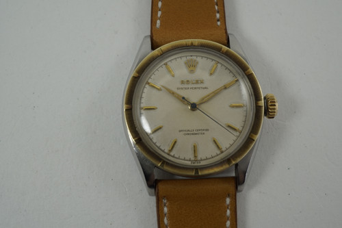 Rolex 6085 Oyster Perpetual yellow gold & stainless steel dates 1953-54 vintage automatic pre owned for sale houston fabsuisse