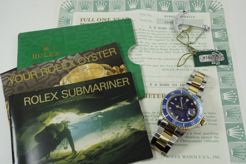 Rolex 16613 Submariner tutone w/ box, papers & tag dates 1991 modern automatic original stainless steel 18k yellow gold pre owned for sale houston fabsuisse