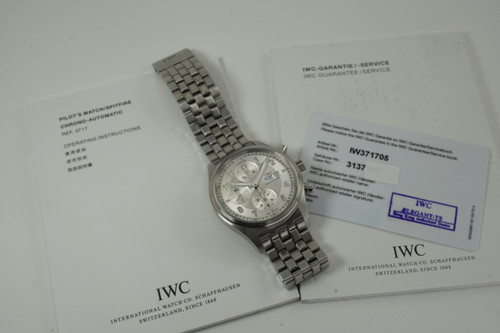 IWC 3717 Spitfire Pilot Chronograph w/ booklets & card c. 2010 modern automatic original stainless steel pre owned for sale houston fabsuisse