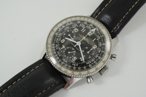 Breitling 806 Navitimer Chronograph stainless steel w/ beaded bezel dates 1959 vintage pre owned for sale houston fabsuisse