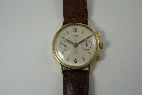 Universal Geneve Uni-Compax Chronograph 18k yellow gold dates 1950's vintage pre owned for sale houston fabsuisse