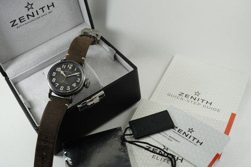 Zenith 11.2430.679 Pilot Type 20 steel w/ box, tags and papers original mint automatic for sale houston fabsuisse
