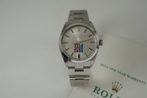 Rolex 5500 Air King Dominos Logo dial stainless steel dates 1982-83 automatic vintage pre owned for sale houston fabsuisse