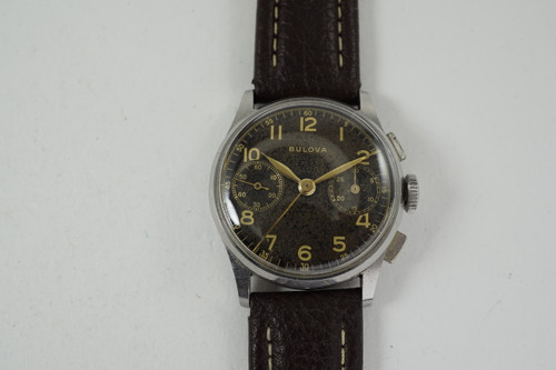 Bulova Chronograph stainless steel 1940's w/ black gilt dial vintage for sale houston fabsuisse