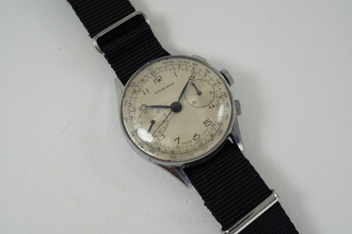 Nicolet Watch Chronograph stainless steel original dates 1940's vintage pre owned for sale houston fabsuisse