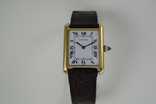 Cartier Tank Paris 18k yellow gold original dates 1990's unisex pre owned for sale houston fabsuisse