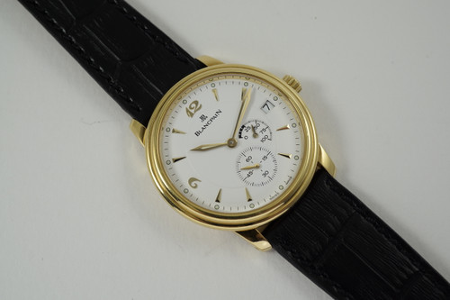 Blancpain 1106-1418-55 Villeret Power Reserve 18k yellow dates 2000's modern pre-owned for sale houston fabsuisse