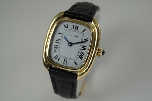 Cartier Gondolo ladies 18k w/ deployment strap dates 1970-80's vintage yellow gold pre owned for sale houston fabsuisse
