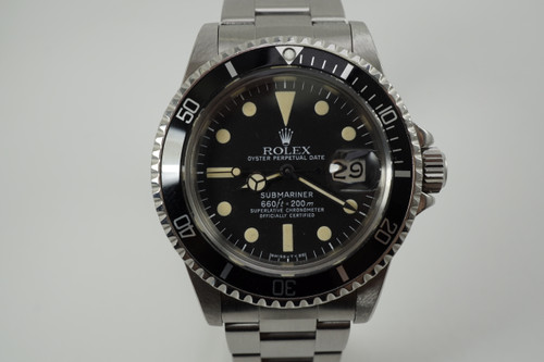 Rolex 1680 Submariner stainless steel white 660 ft. dates 1977 vintage pre owned for sale houston fabsuisse