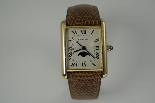Cartier Tank moonphase calendar w/ deployment  and box dates 1990's modern pre owned for sale houston fabsuisse