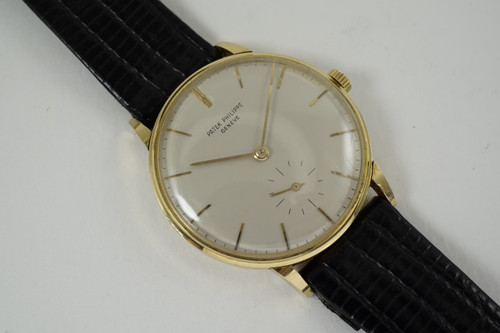 Patek Philippe 3410 Antimagnetic 18k yellow gold from 1955-60 vintage original pre owned for sale houston fabsuisse