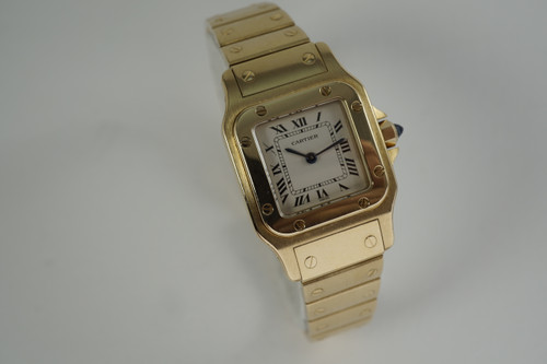 "Cartier Santos ladies 18k yellow gold ""Santos de Cartier"" w/ box 1990's modern pre owned fabsuisse"