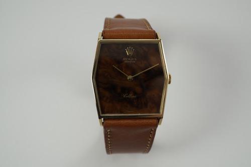 Rolex 4122 Cellini 18k yellow gold exotic wood dial c. 1975 vintage pre owned for sale houston fabsuisse