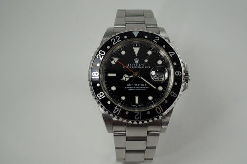 Rolex 16710 GMT Master II stainless steel w/ box & service book c. 2002 modern pre owned for sale houston