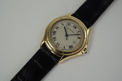 Cartier 887904 Cougar Panther 18k yellow gold gents on a strap modern unisex for sale houston fabsuise