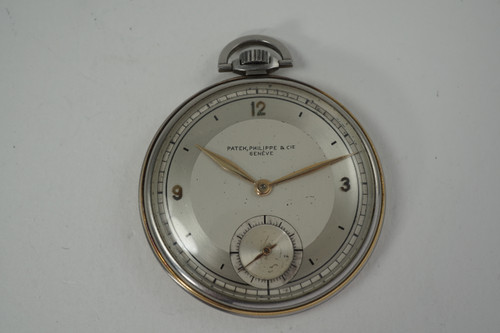 Patek Philippe Pocket Watch staybrite and rose gold trim dates 1925-30 vintage original rare for sale houston fabsuisse