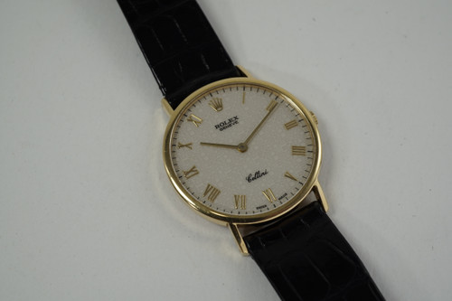 Rolex 5112 Cellini 18k yellow gold w/ original strap & buckle c. 1989 vintage pre owned for sale houston fabsuisse