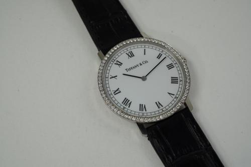 Tiffany & Co. M1560 Wristwatch 18k white gold & factory diamond bezel c. 1990's modern pre owned for sale houston fabsuisse