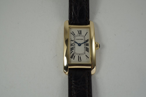 Cartier 1710 Tank Americaine ladies 18k yellow W2601556 dates 2000's pre owned for sale houston fabuisse