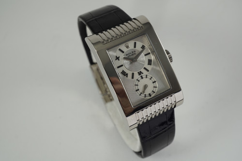 Rolex 5441 Cellini Prince 18k white gold Godron Circulaire w/ box c. 2002-2003 pre owned modern for sale houston fabsuisse