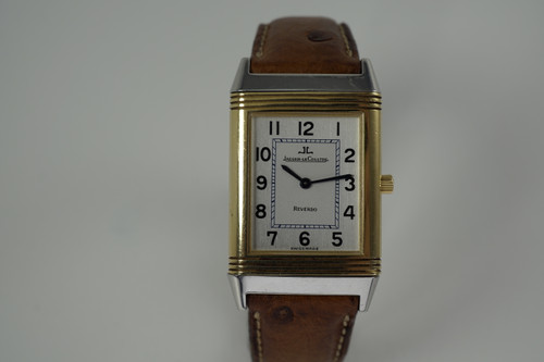 Jaeger LeCoultre 250.5.86 reverso Classique steel & 18k yellow gold c. 1990's modern pre owned for sale houston fabsuisse