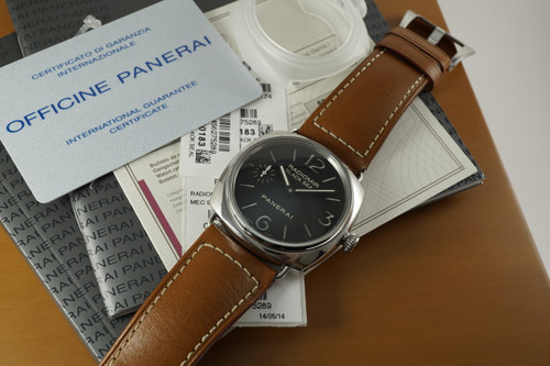 Panerai PAM 183 Black Seal stainless steel w/ box, boox & card dates 2014 modern pre owned all original for sale houston fabsuisse