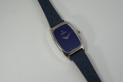 Corum Ladies Dress Watch silver w/ lapis dial dates 1970's original pre owned for sale houston fabsuisse