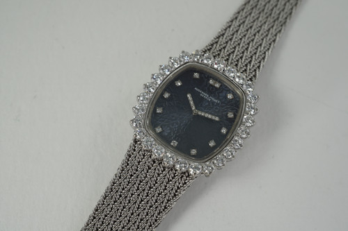 Audemars Piguet Ladies Dress Watch 18k white gold & diamonds dates 1950's vintage pre owned for sale houston fabsuisse