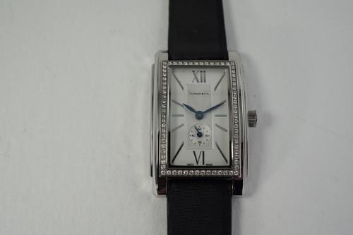 Tiffany & Co. Z0035.13.10 Ladies Dress Watch diamond bezel steel c. 2010 modern pre owned for sale houston fabsuisse