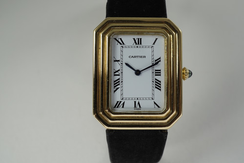 Cartier Rectangle Christallor 18k yellow gold original deployment c. 1970's preowned vintage for sale houston fabsuisse