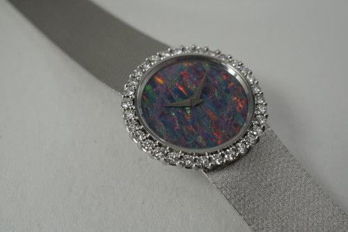 Bucherer L.U.C. Chopard Ladies Watch 18k white gold diamond & opal c. 1970's vintage original pre owned for sale houston fabsuisse