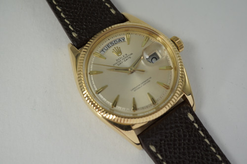 Rolex 6611B Day Date Head 18k yellow gold original dial dates 1957 vintage automatic pre owned for sale houston fabsuisse