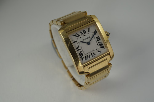 Cartier 1821 Tank Francaise medium 18k yellow gold w/ box c. 2000 modern quartz pre owned for sale houston fabsuisse