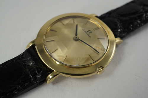 Omega 14741 Star of David Crystal 18k yellow gold rare dates 1960 vintage pre owned for sale houston fabsuisse