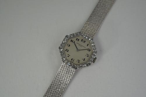 Vacheron Constantin 7148 Ladies Dress Watch 18k white gold factory diamond bezel 1967 vintage pre owned for sale houston fabsuisse