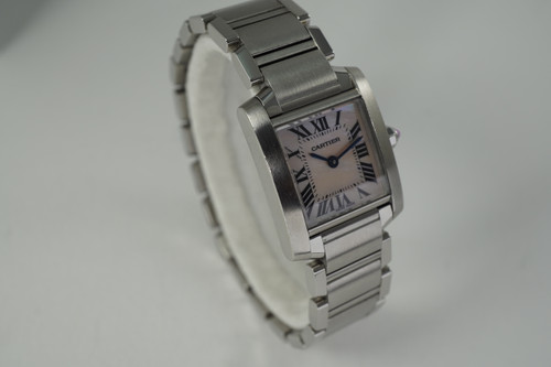 Cartier 2384 Tank Francaise steel w/ pink mother of pearl dial c. 2000's modern ladies pre owned for sale houston fabsuisse