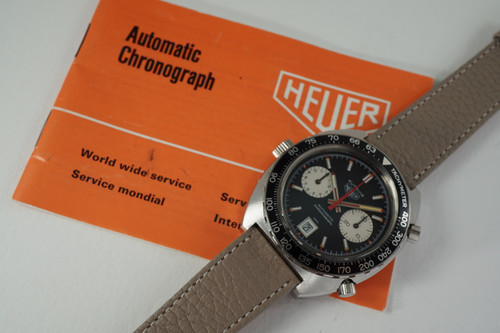 Heuer 1163 V Viceroy Autavia Chronograph steel w/ papers c. 1972 vintage automatic collectors quality pre owned for sale houston fabsuisse