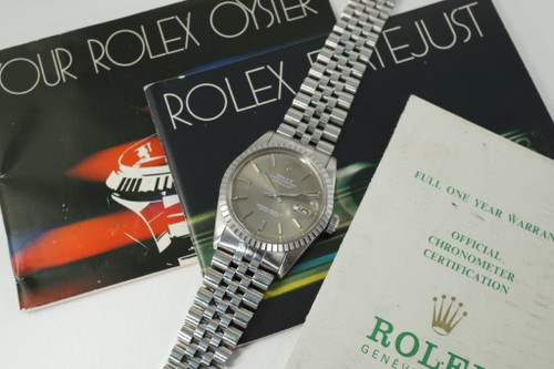 Rolex 16030 Datejust w/ papers & booklets stainless steel sold 1981 vintage automatic pre owned for sale houston fabsuisse