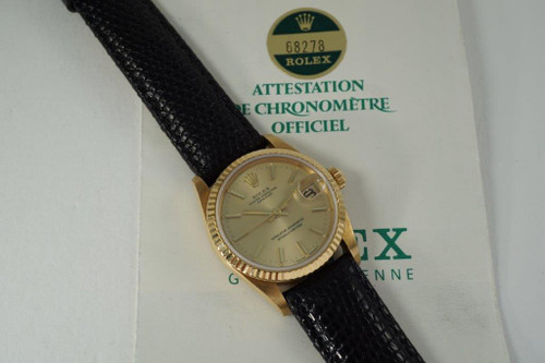 Rolex 68278 Datejust mid-size 18k yellow gold head only books & papers c. 1985 pre owned vintage for sale houston fabsuisse