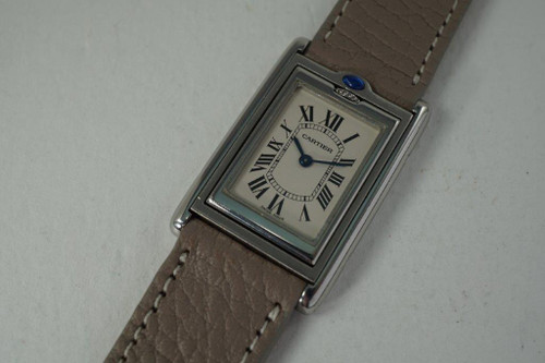 Cartier 2405 Basculante Reverso stainless steel w/ box dates 2000's modern quartz pre owned for sale houston fabsuisse