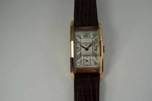 Lord Elgin Rectangle Watch 14k yellow gold w/ diamond dial c. 1940's vintage art deco pre owned for sale houston fabsuisse
