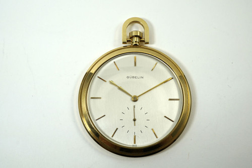 Gubelin Pocket Watch massive 56 mm 18k yellow gold open face Jaeger movement for sale houston fabsuisse