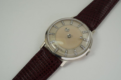 LeCoultre Vacheron Constantin Mystery Dial 14k white gold dates 1950's vintage pre owned for sale houston fabsuisse