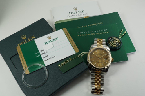 Rolex 116233 Datejust tutone w/ box card books & tags never worn! c. 2016 modern automatic pre owned for sale by fabsuisse