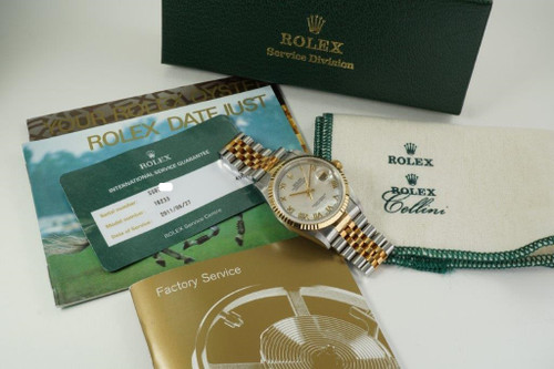 Rolex 16233 Datejust mother of pearl dial steel & 18k card service c. 1995 automatic modern pre owned for sale houston fabsuisse