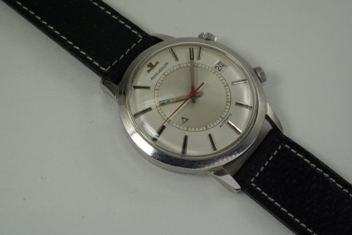 LeCoultre Alarm Bumper automatic date stainless steel dates 1960's vintage pre owned for sale houston fabsuisse