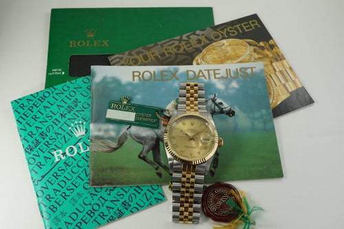 Rolex 16013 Datejust man's tutone new old stock w/ hologram & tags dates 1987 original finish pre owned for sale houston fabsuisse