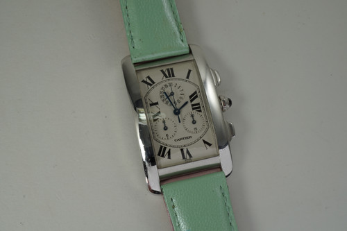 Cartier 2312 Tank American Chronograph 18k white gold dates 2000's  modern pre owned for sale houston fabsuisse
