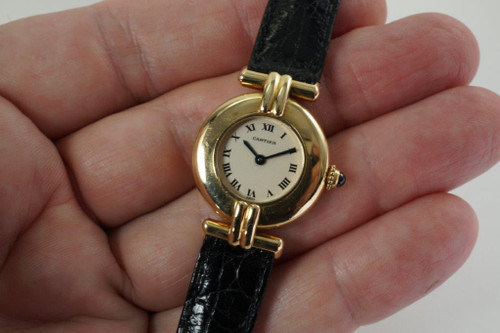 Cartier 3359 Round Vendome Ladies 18k watch w/ box dates 2000's pre owned yellow gold for sale houston fabsuisse