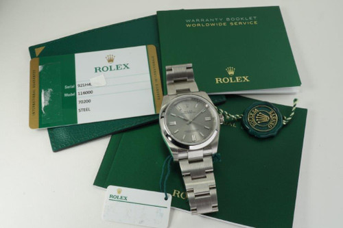 Rolex 11600 Oyster Perpetual 36 mm stainless steel mint w/ tags, box and card c. 2019 modern pre owned for sale houston fabsuisse